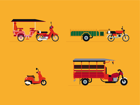 Clean and modern flat-design Cambodian vehicle set.