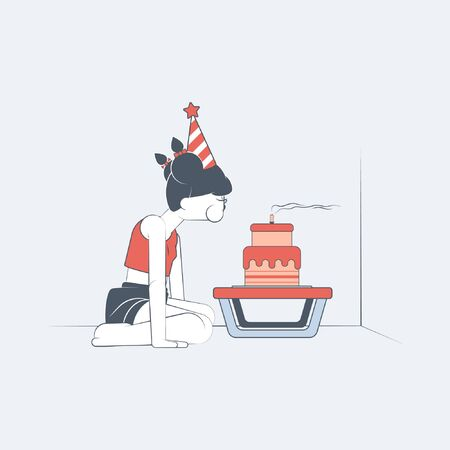 Sad female teenager alone in a room blowing a birthday candle in vector flat-style illustration design.