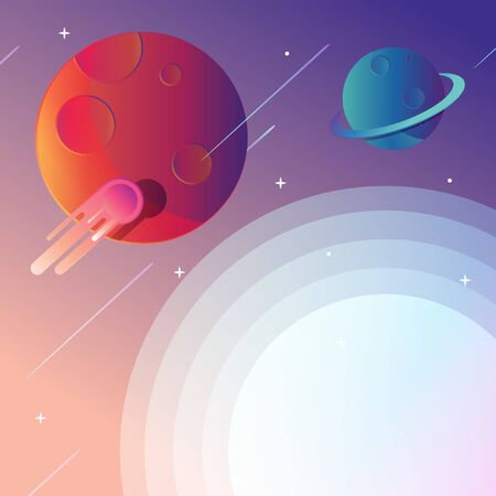 Galaxy background, fare from earth, another solar system. Comets, planets, stars and asteroid in a modern flat-design. Illustration