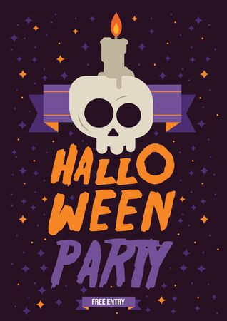 Modern and flat illustration Halloween free party poster.