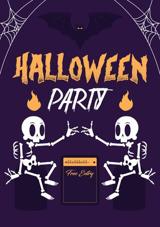 Modern and flat illustration Halloween free party poster. The layout is a composition of 2 skeletons seating arround vintage music speaker, a mean party title and a flying bat.