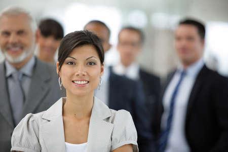 team management: Portrait of smiling businesswoman Stock Photo
