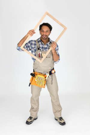 Carpenter on white background photo