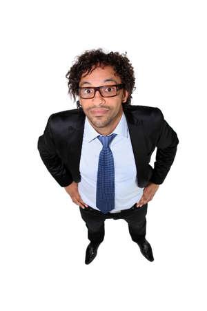 portrait view: Businessman in square glasses Stock Photo