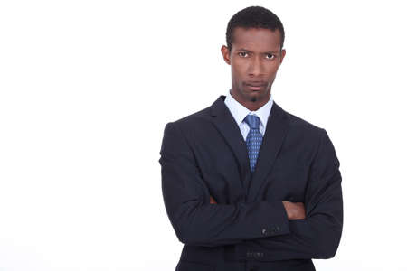 stubborn: Businessman with determined expression on face Stock Photo