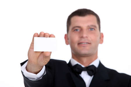 businesscard: Gentleman showing businesscard Stock Photo