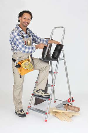 selfemployed: Self-employed laborer on white background Stock Photo