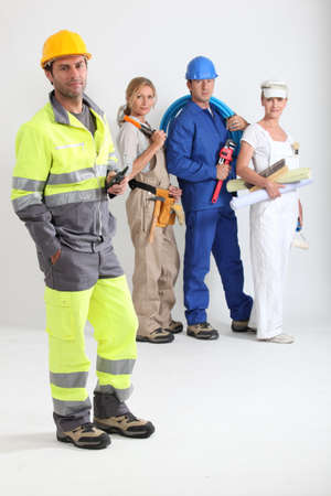group of workers with one in the foreground photo