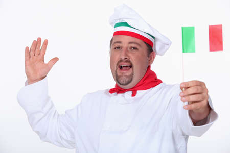 Italian chef waving a flag photo