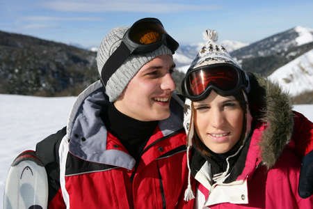 couple at ski season Stock Photo - 10746826