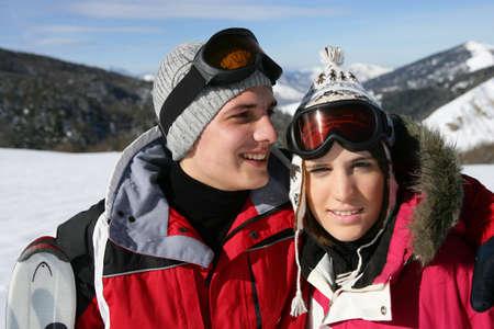 couple at ski season Stock Photo - 10746826