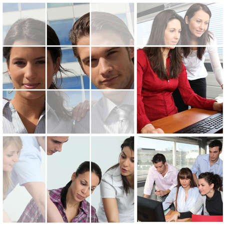 co operative: Collage of people at work Stock Photo