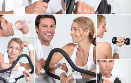 Collage of happy man and woman on a cross trainer Stock Photo - 10746822