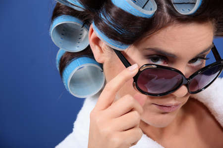 hair roller: young woman with curlers in her hair