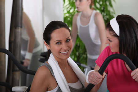 women discussing in gym club Stock Photo - 10747274
