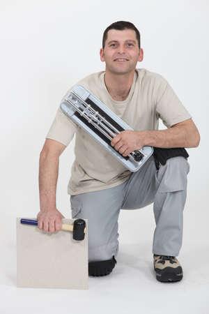 portrait of smiling tiler Stock Photo - 10783406