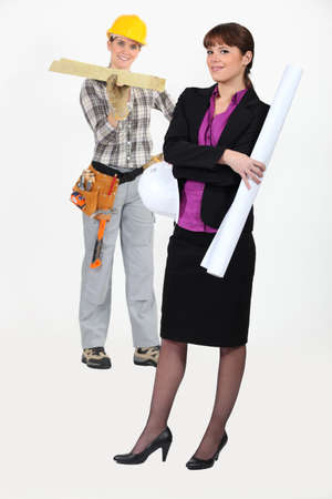 An architect and her carpenter. Stock Photo - 10782396