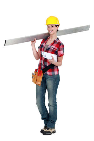 Woman carrying a stud photo