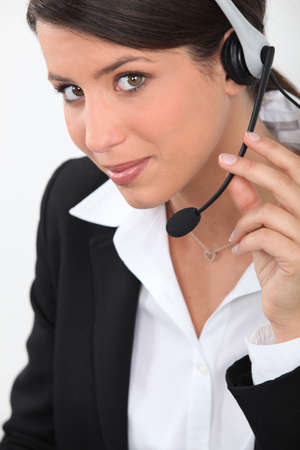 Woman wearing headset photo