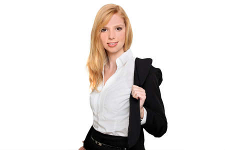 hands off: Businesswoman taking her jacket off