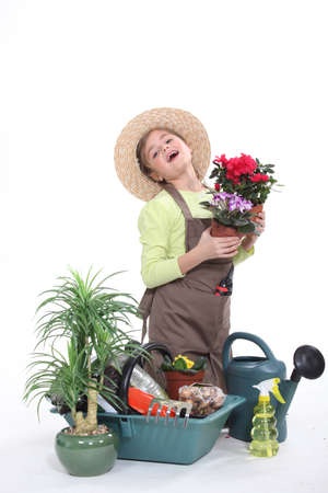 Young girl dressed as a florist photo
