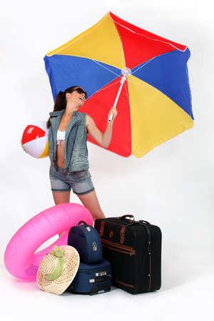 girl going to beach resort photo