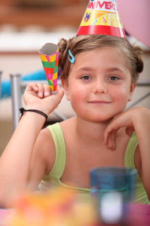 Young girl at a birthday party Stock Photo - 10783405