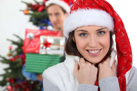 Excited couple at Christmas Stock Photo - 10783565