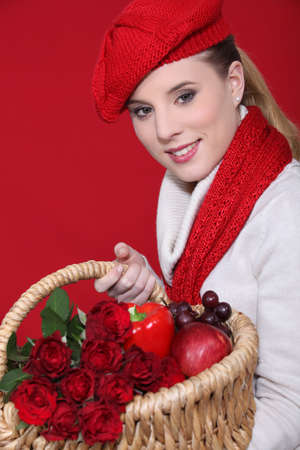 Red themed woman with basket photo
