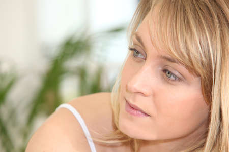 year profile: Woman looking sideways Stock Photo
