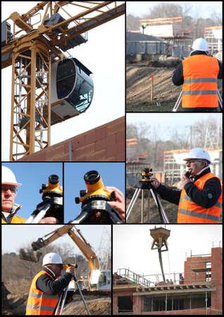 theodolite: Collage di costruzione a tema Archivio Fotografico