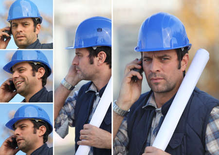 snapshots: snapshots of young man with blue safety helmet on the phone Stock Photo