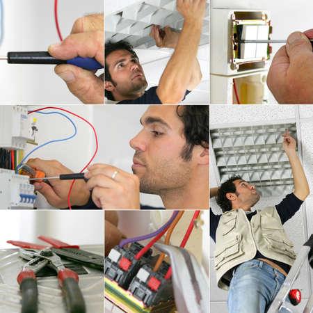 ingenieria el�ctrica: Fotomontaje de un electricista en el trabajo