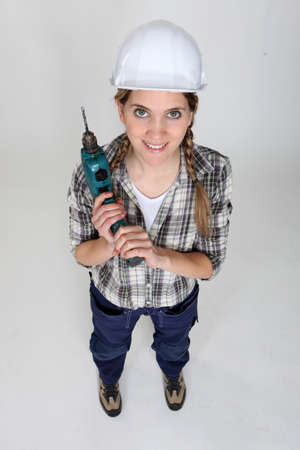 craftswoman holding a drill Stock Photo - 10783281