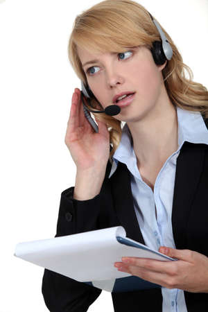 Answering the hotline. Stock Photo - 10782608