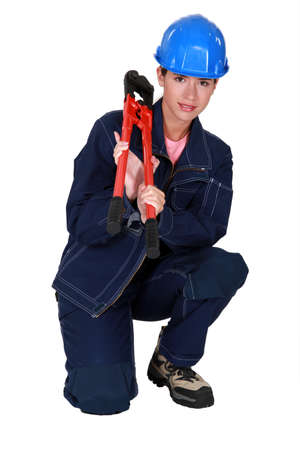 craftswoman holding a spanner Stock Photo - 10782398