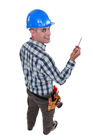 Worker with an awl Stock Photo - 10782541