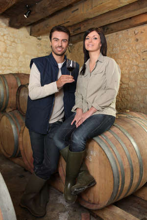 oenology: Winegrowers tasting a wine