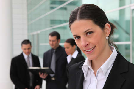 Business colleagues stood outside building Stock Photo - 10852963
