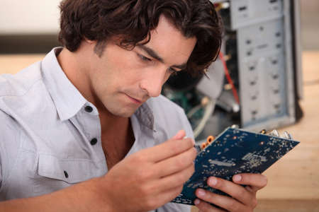 computer repairing: computer reparation service Stock Photo