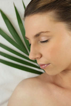 Woman asleep against a green plant Stock Photo - 10852492