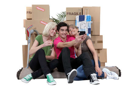 moving out: Three roommates moving out. Stock Photo