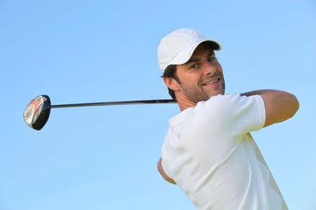 polo player: Man playing golf