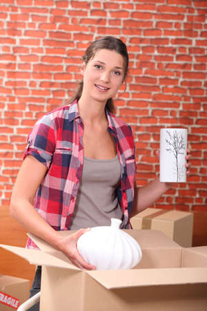 portrait of a woman with moving boxes Stock Photo - 10854405