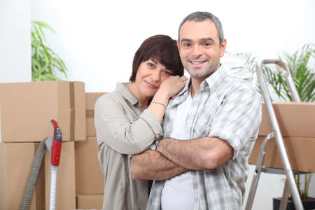 moving out: Couple moving house Stock Photo