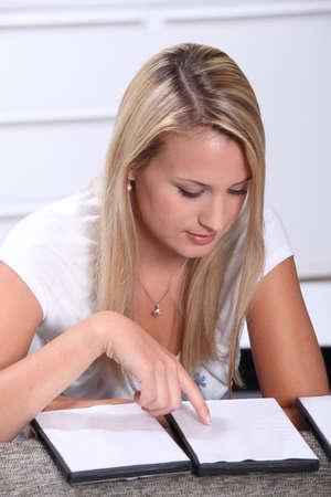 sat: Blond teenager revising