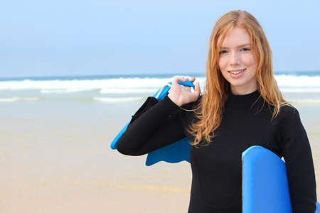 ginger hair: Girl bodyboarding