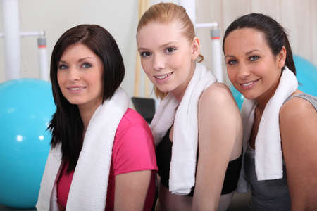firmness: three girlfriends in the gym Stock Photo