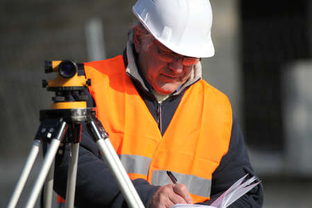 tachymeter: surveyor working Stock Photo