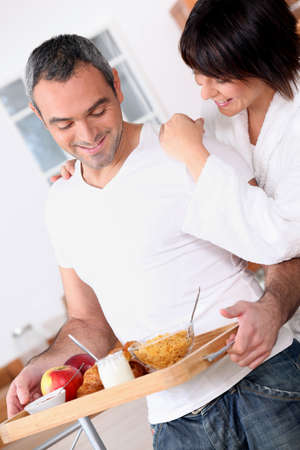 accomplices: portrait of a couple at breakfast Stock Photo